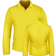 纯棉珠地网眼长袖翻领T恤衫【黄色,现货供应】