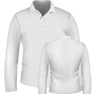 珠地网眼长袖翻领T恤衫【白色现货供应】