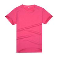 【2014新品】玫红色新款品质莱卡棉制作文化衫(可印字或图案)