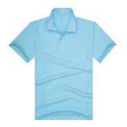 新品240gCVC浅蓝色珠地网眼棉翻领T恤衫(现货可印logo图案)