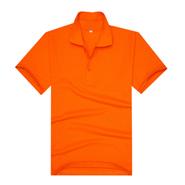 橘红色夏季员工翻领T恤衫工服(现货可印logo图案)