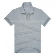 麻灰色广告促销翻领T恤衫(现货可印logo图案)