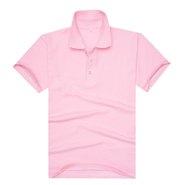 粉红色珠地网眼棉翻领T恤衫(现货可印logo图案)