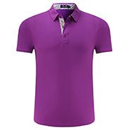 紫色精品翻领T恤衫-定制LOGO