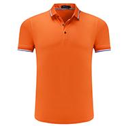 橙色精品翻领T恤衫-定制LOGO