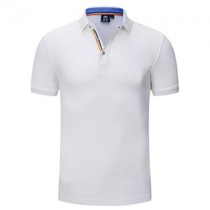 白色高档翻领T恤衫-定制LOGO
